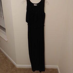 CALVIN KLEIN Black Maxi Sleeveless Ruffle Dress